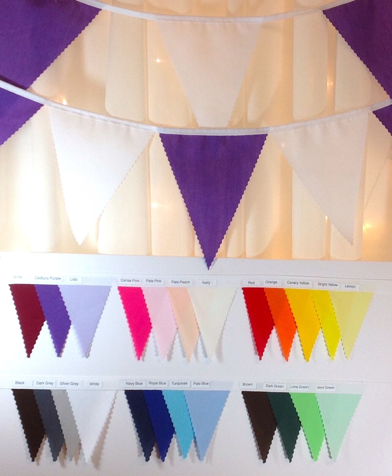 Fabric Bunting - Choose your own Colours - Various lengths - parties, weddings..