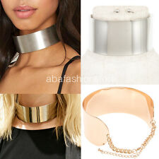 Bling Wide Full Metal Sleek Mirror Neck Choker Cuff Collar Necklace Set Chain
