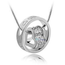Unique Heart & Ring Crystal Jewelry Necklace Love Xmas Gift For Wife Girl B TL
