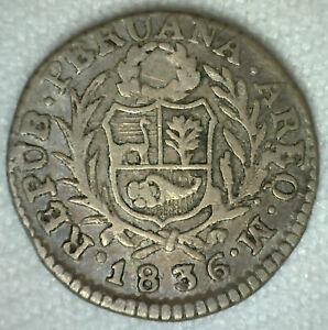 Perou-Demi-Veritable-1836-M-Argent-Distribue-Fin-Piece-de-Monnaie-1-2-Veritable