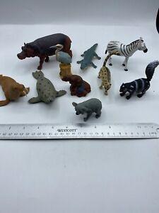 #20 Plastic Zoo Animals Lot of 10 Safari Jungle Zebra Seal Hippo Bird Koala Toy