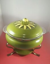Vintage Fondue Pot Green Enamel Set With Anchor Hocking Glass Insert Cookware
