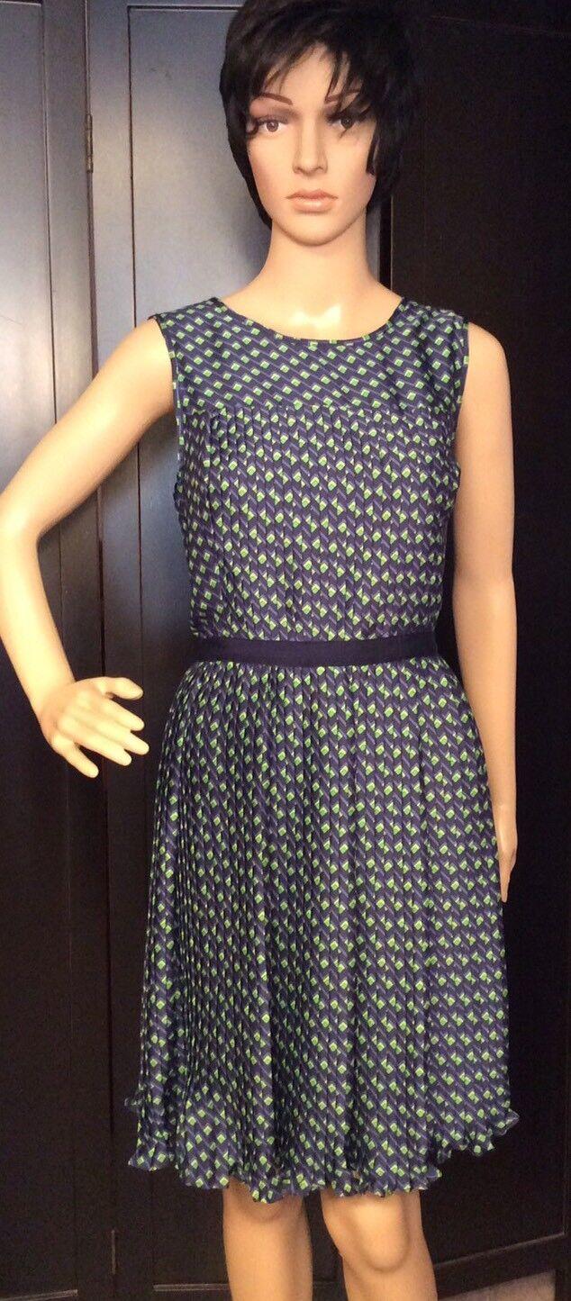 Shoshanna  Womans Size 8 Dress Fit & Flair bluee Green Geometric Print Sleeveless