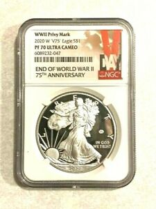 """2020 W End of WWII 75th Anniversary American 1 Oz Silver Eagle """"V75"""" NGC PF70 UC"""