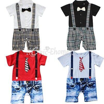 Baby Boy Wedding Formal Tuxedo Suit Gentleman Romper Outfit+HAT Set 6-18 NEWBORN