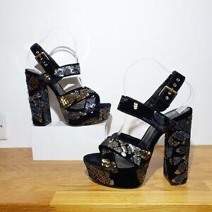 black sequin platform heels