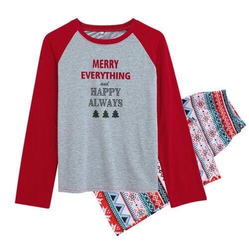 Family Christmas Pyjamas Women Men Kids Matching Nightwear Xmas Pajamas PJs Set