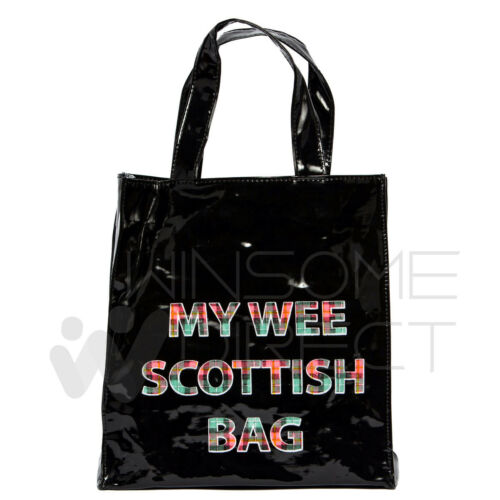 My Wee Scottish Mini PVC Gusset Bag Inner Zip Pocket Easy Carrying Shoping Bag