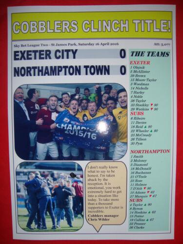 souvenir print 2016 Northampton champions Exeter City 0 Northampton Town 0