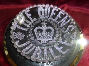 QUEEN-VICTORIA-Golden-Jubilee-1887-Decorated-Glass-Dish-ROYAL-WARE-MEMORABILIA