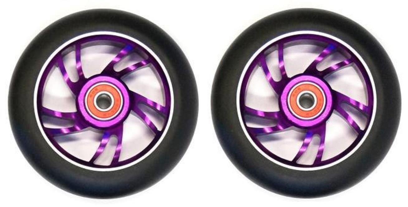 2x (Pair) BulletProof Scooter Wheels - Metal Alloy Core - 100mm - PURPLE