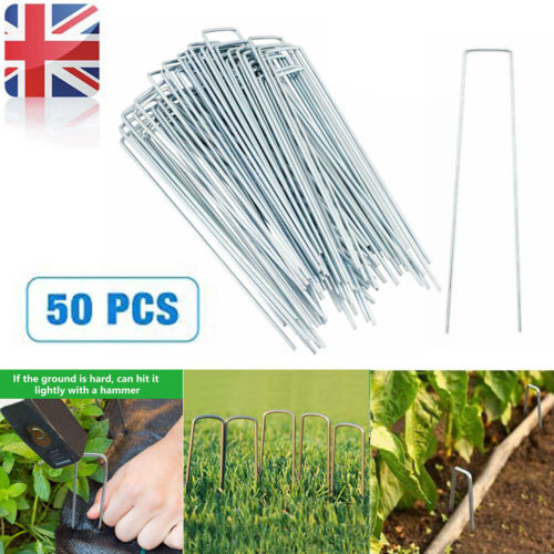 50pcs Galvanized U Shape Pegs Pins Ground Stakes Camping Tent Securing Hooks