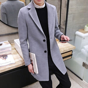 Vogue-Men-039-s-Winter-Coat-Long-Wool-Jacket-Collar-Slim-Outwear-Trench-coat-Size