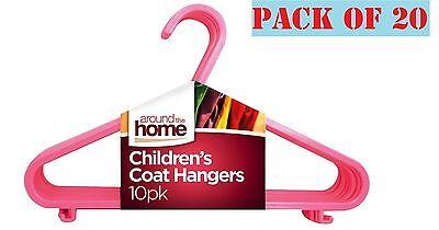 20 X Bambini Bambini Plastica Appendini Per Neonate Vestiti Bucato Appendiabito Rosa-mostra Il Titolo Originale