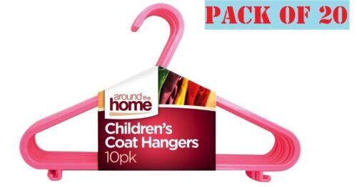 20 x Bambini Bambini Plastica Appendini per neonate vestiti bucato APPENDIABITO Rosa