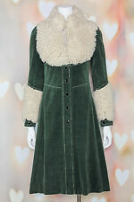 VTG 70s BOHO Mod *RUSSIAN PRINCESS* Sherpa HUNTER GREEN Pea COAT Jacket XS-S