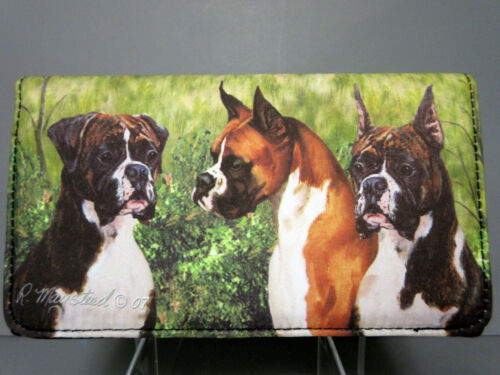 No Zip Ruth Maystead Boxers Dogs Free Shipping New Boxer Dog Check Book Wallet