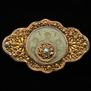Rare-Asian-Antique-Belt-buckle-Vermeil-Fine-Hand-Carved-Celadon-Jade-Accented
