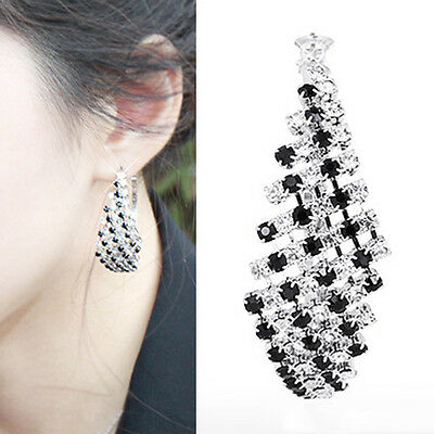 1 Pair Elegant Attractive Bling Rhinestone Black White Hoop Ear Stud Earrings