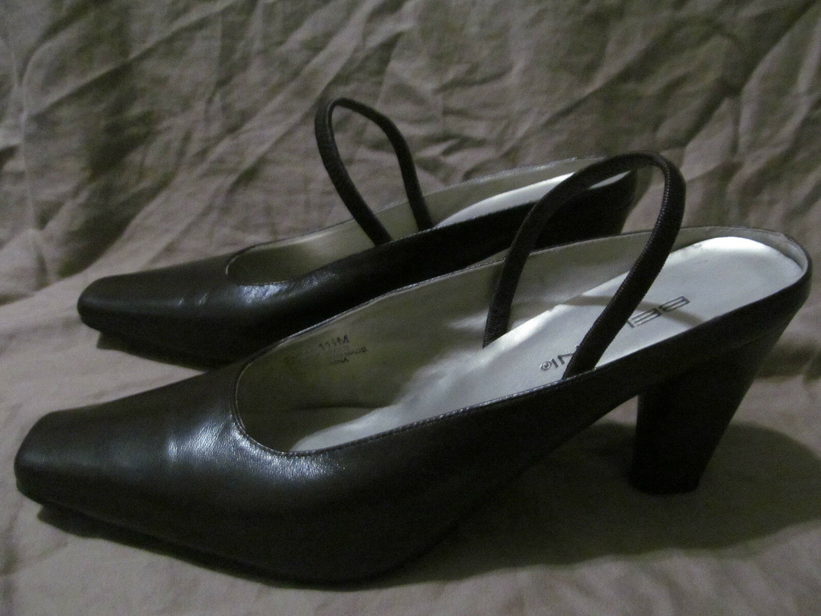 Women's Bellini Carlee Square Toe High Heels Mules 11.5 Espresso Brown Leather
