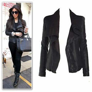 a10a05c847c9 Image is loading New-black-draped-zip-trims-faux-leather-suede-