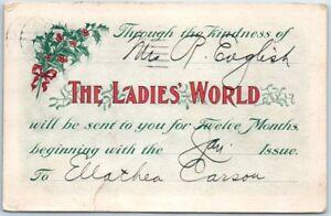 1906-THE-LADIES-039-WORLD-MAGAZINE-Postcard-Christmas-Gift-Subscription-Card