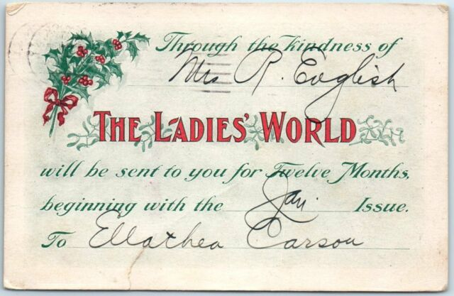 1906 THE LADIES' WORLD MAGAZINE Postcard Christmas Gift Subscription Card