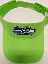 Seattle Seahawks HEAT APPLIED Applique on Lime Green visor cap hat! Adjustable!