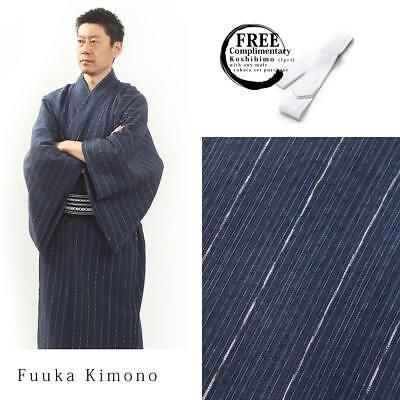Yukata LL Blue Luxury Japanese Mens Summer Kimono