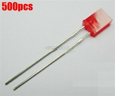 500PCS 2x5x7mm Rectangle LED Red Colour Red Light Emitting Diode NEW
