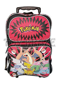 Image is loading POKEMON-ROLLING-BACKPACK-BLACK-amp-RED-LARGE-ROLLER- cb5f6b5bee1