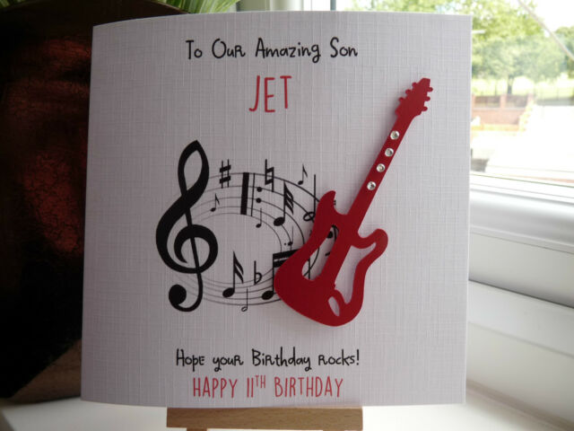 Handmade Personalised Guitar Male Birthday Card Son Dad Boyfriend