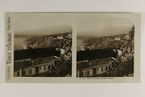 Italia Taormina La Baie Etna c1925 Foto Stereo Vintage Analogica