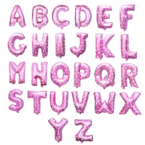 "Gold Silver Blue /& Pink 16/"" Alphabet Letter Number Self-inflating Foil Balloon"