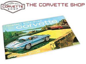Corvette Owners Manual 1963 NEW 470863