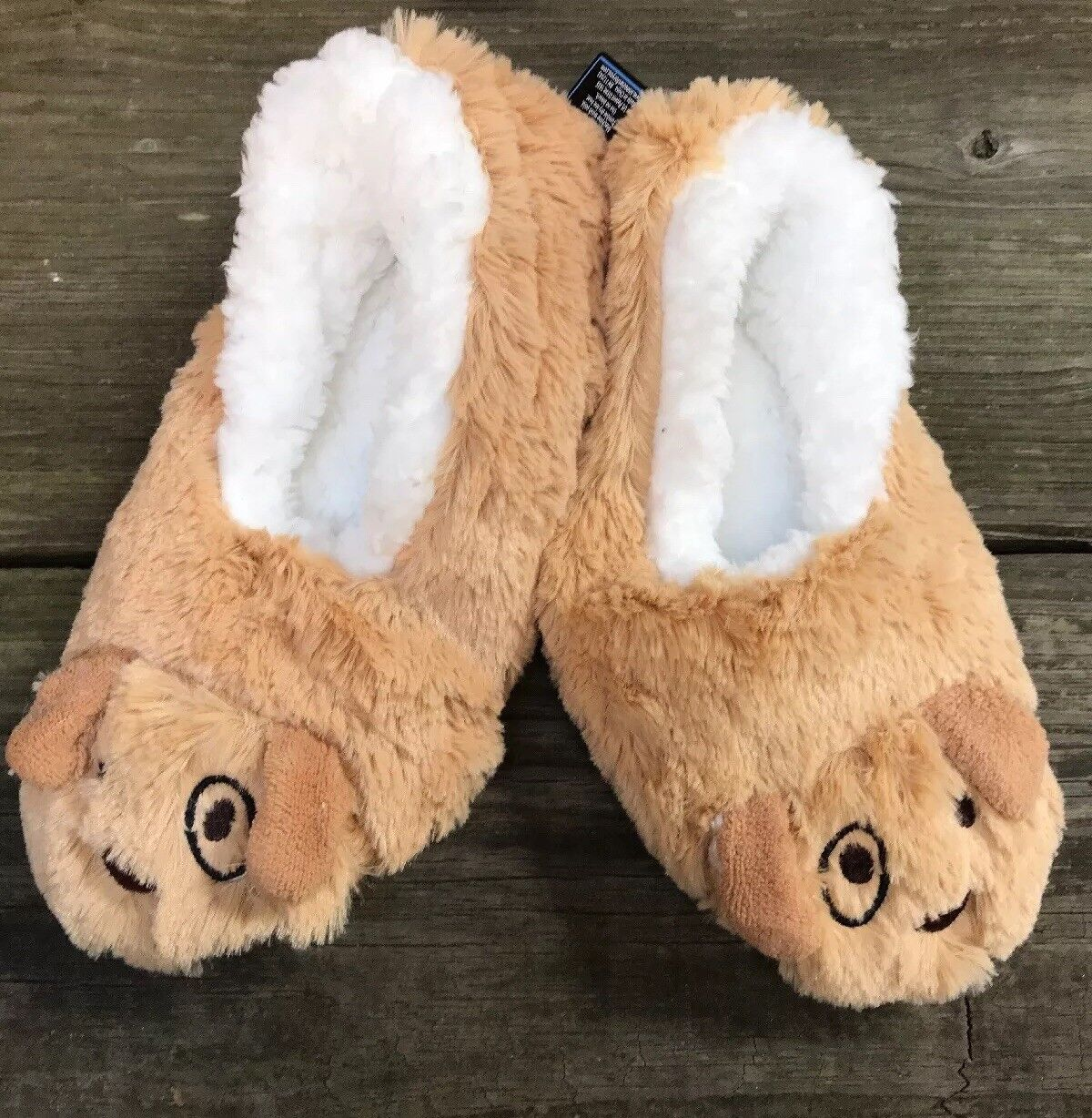 L 9-10 Snoozies Tan Puppy Dog Soft Slippers Shoes Foot Coverings Women NEW
