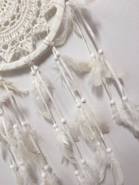 IVORY WHITE HAND MADE CROCHET DREAM CATCHER 16 CM WEB BOHO 57 CM TOTAL LENGTH
