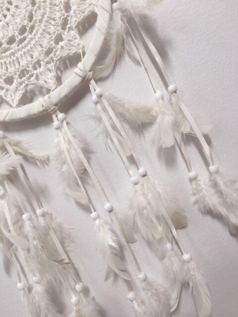 CROCHET DREAM CATCHER 22 CM WEB BOHO 60 CM TOTAL LENGTH IVORY WHITE