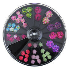 1 Box Colorful Rose 3D Nail Art Resin Beautiful Rose Charms Studs Decoration