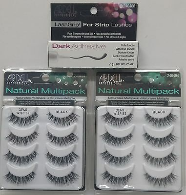 2LOT Ardell DEMI WISPIES MULTI PACK (8 Pairs) Eyelashes + Strip Glue 0.25oz