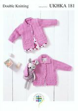 UKHKA\179 Cardigans Two Styles V-Neck /& Shawl Collar Double knitting pattern