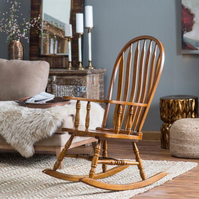Country Manor Clic Oak Wood Farmhouse Rocking Chair Nursery Rocker