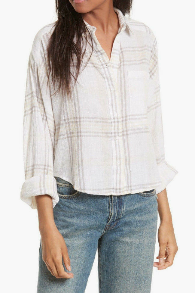 Free People OB613778 Cutie Button Down Long Sleeve Plaid Shirt Ivory XS