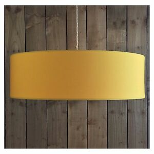 Large 70cm yellow fabric drum lightshade lampshade ceiling pendant image is loading large 70cm yellow fabric drum lightshade lampshade ceiling aloadofball Gallery