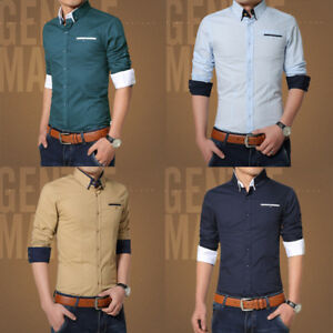 New-Fashion-Mens-Luxury-Casual-Stylish-Slim-Fit-Long-Sleeve-Casual-Dress-Shirts