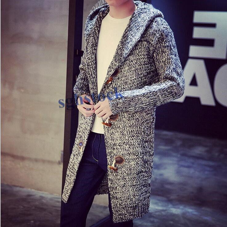 New Mens Fashion Sweater Cardigan Duffle Long Coat Outwear M-5XL Stylish New