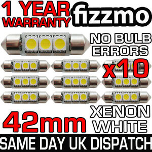 10x-42mm-264-C5W-SV8-6000k-BRIGHT-WHITE-3-SMD-LED-FESTOON-LIGHT-BULB-ERROR-FREE