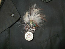 CARTRIDGE SHOOTING PIN/NATURAL FEATHER LAPEL BROOCH /COUNTRY WEAR ACCESSORY .