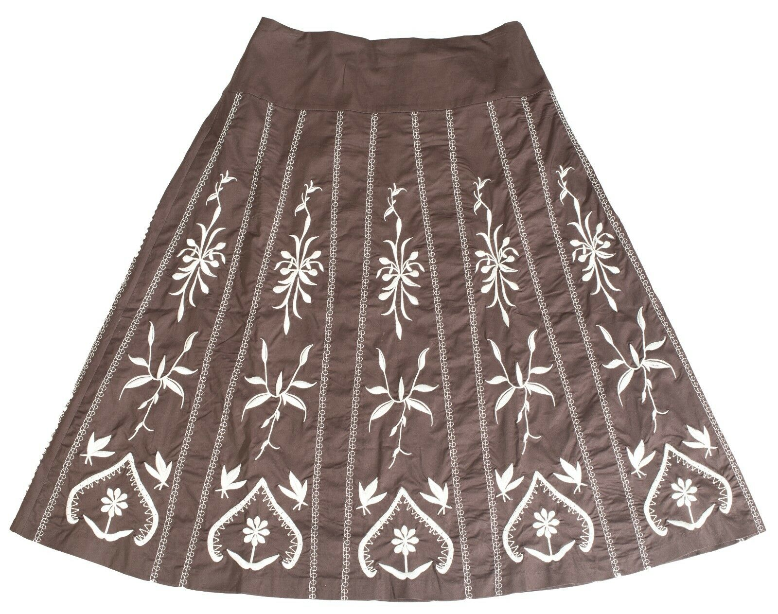 Brown Stretch Stitch Pattern Skirt