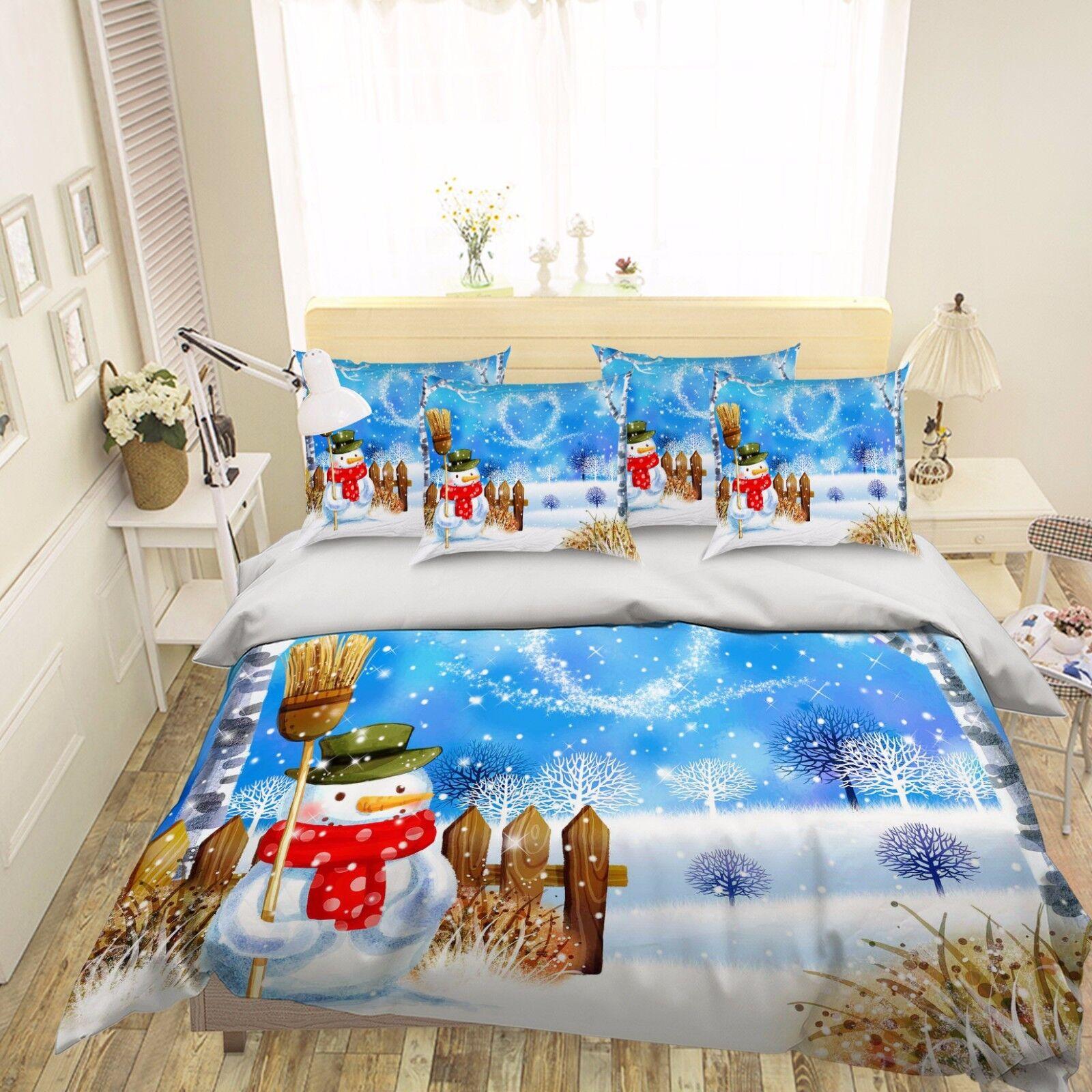 3D Snowman Scenery 578 Bed Pillowcases Quilt Duvet Cover Set Single Queen CA
